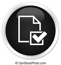 Checklist icon premium black round button