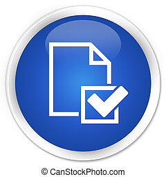 Checklist icon premium blue round button