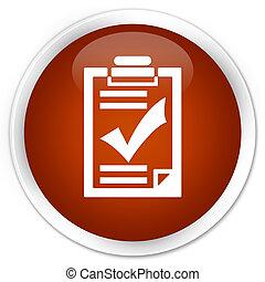Checklist icon premium brown round button