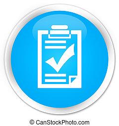 Checklist icon premium cyan blue round button