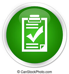 Checklist icon premium green round button