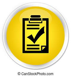 Checklist icon premium yellow round button