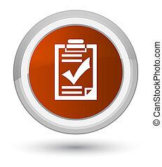 Checklist icon prime brown round button