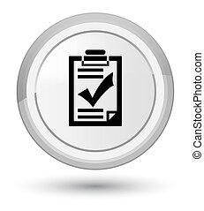 Checklist icon prime white round button