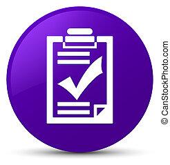 Checklist icon purple round button