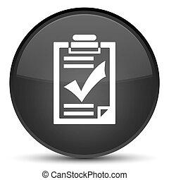 Checklist icon special black round button