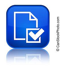 Checklist icon special blue square button