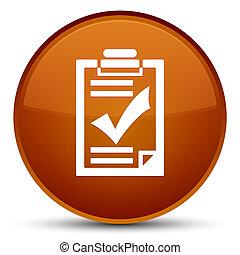 Checklist icon special brown round button