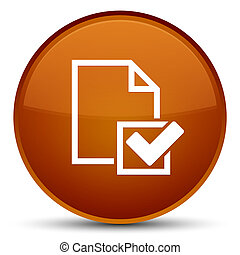 Checklist icon special brown round button