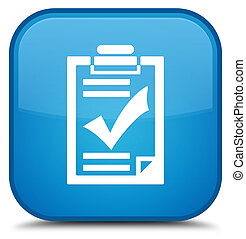 Checklist icon special cyan blue square button