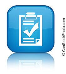 Checklist icon special cyan blue square button