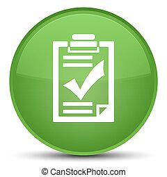 Checklist icon special soft green round button