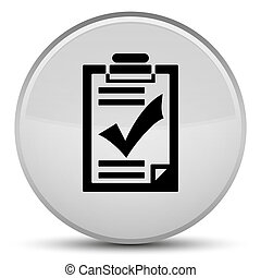 Checklist icon special white round button
