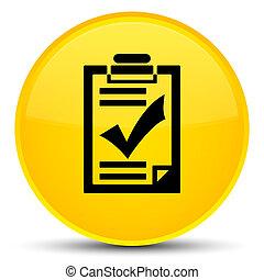 Checklist icon special yellow round button