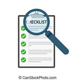 checklist, icon., wektor, illustration., szkło powiększające