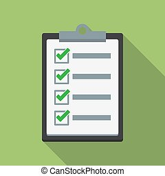Checklist icon with long shadow in a flat design. Vector illustration
