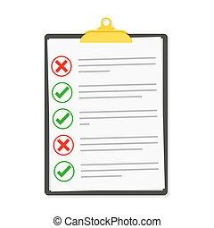 Checklist isolated. Vector illustration. Checklist clipboard...