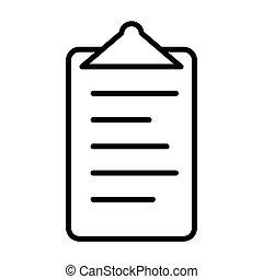 Checklist line icon. Clipboard symbol in outline style. Vector