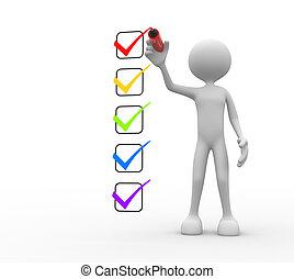 checklist., ludzie, -, osoba obsadzają, 3d