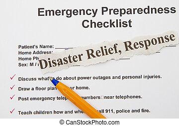 checklist, nagły wypadek