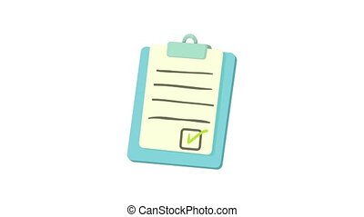 Checklist on a clipboard icon animation best object on white background