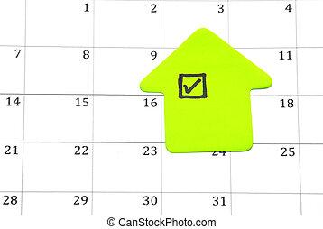 Checklist on calendar