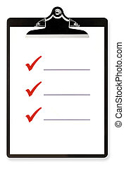 Blank checklist on clipboard, with large red ticks, and room for text.