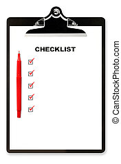 Checklist on Clipboard - Checklist and red pen on clipboard,...