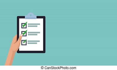 Checklist on clipboard HD animation - Checklist on clipboard...