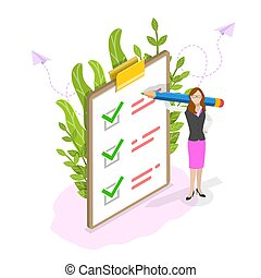 Checklist on clipboard isometric flat vector concept.