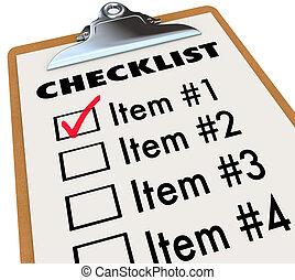 Checklist on Clipboard To-Do Item List - A checklist on a...