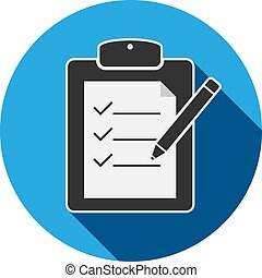 checklist on clipboard with pencil icon or symbol vector...