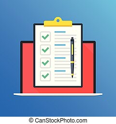Checklist on laptop screen. Laptop and clipboard with green check marks and pen. Online survey, quiz, questionnaire concepts. Modern long shadow flat design graphic elements. Vector illustration