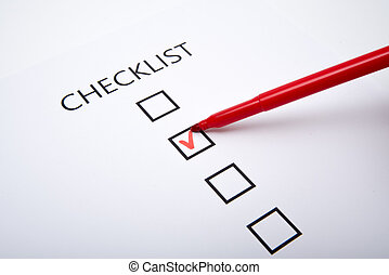 Checklist on white paper