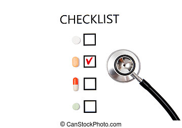 Checklist on white paper with stethoscope