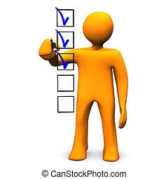 Checklist - Orange cartoon character makes a checklist, on...