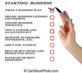 checklist, początkowy, handlowy