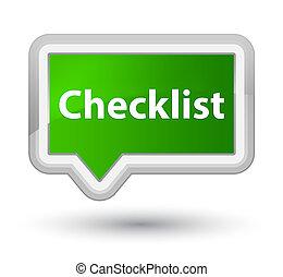 Checklist prime green banner button