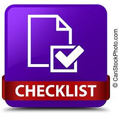 Checklist purple square button red ribbon in middle