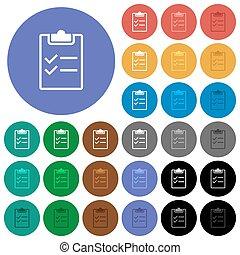 Checklist round flat multi colored icons