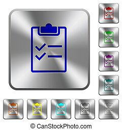 Checklist rounded square steel buttons