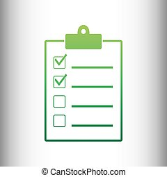 Checklist sign. Green gradient icon