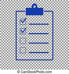 Checklist sign illustration. Blue icon on transparent background