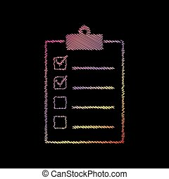 Checklist sign illustration. Coloful chalk effect on black backgound.