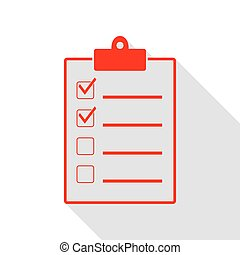 Checklist sign illustration. Red icon with flat style shadow path.