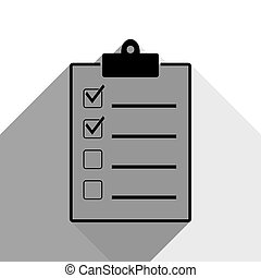 Checklist sign illustration. Vector. Black icon with two flat gray shadows on white background.