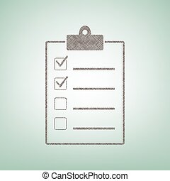 Checklist sign illustration. Vector. Brown flax icon on green background with light spot at the center.