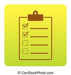 Checklist sign illustration. Vector. Brown icon at green-yellow gradient square with rounded corners on white background. Isolated.