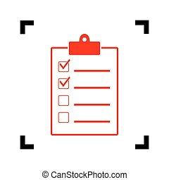 Checklist sign illustration. Vector. Red icon inside black focus corners on white background. Isolated.