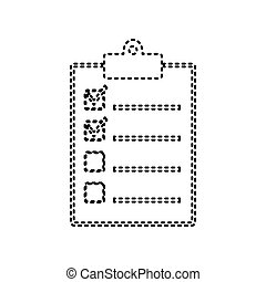 Checklist sign illustration. Vector. Black dashed icon on white background. Isolated.